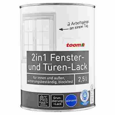 toom 2in1 Fenster- und Türen-Lack, weiß, glänzend, 2500 ml