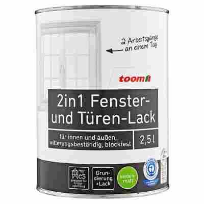 toom 2in1 Fenster- und Türen-Lack, weiß, seidenmatt, 2500 ml