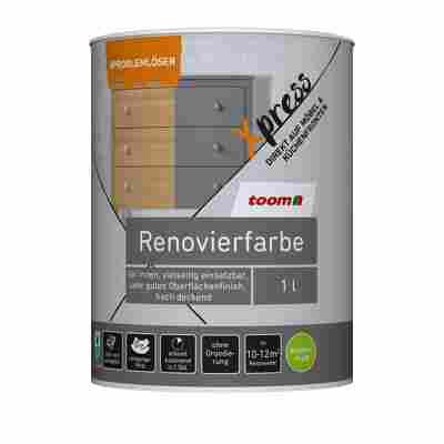 Renovierfarbe für Möbel- und Küchenfronten steingrau seidenmatt 1 l