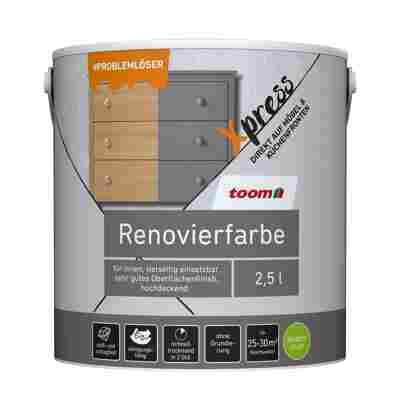 Renovierfarbe für Möbel- und Küchenfronten steingrau seidenmatt 2,5 l