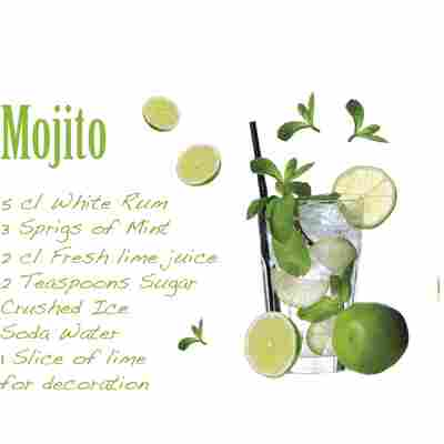 Komar Walltattoo 'Mojito' 100 x 70 cm
