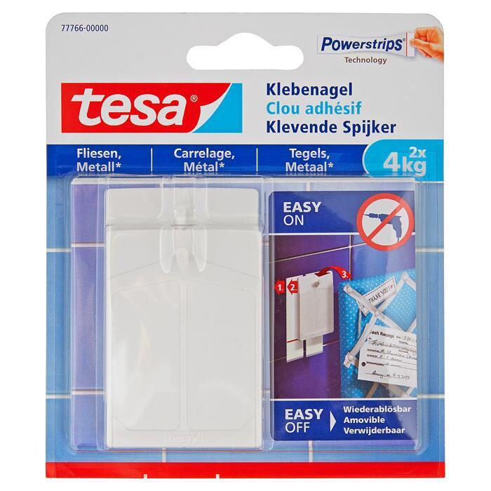Tesa Klebenägel Powerstrips Fliesen Metall weiß 4 kg 2