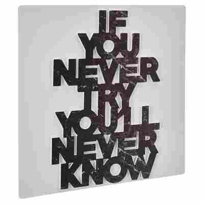 """Decopanel """"If you never try"""" Cut-Out 50 x 50 cm"""