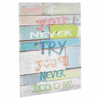 "Decopanel ""If you never try"" mehrfarbig 30 x 40 cm"