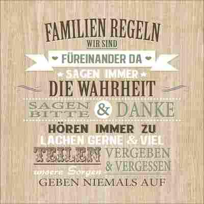 Decopanel 'Familien Regeln', 30 x 30 cm