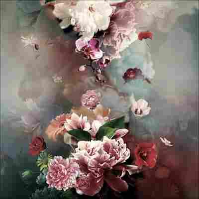 Canvas-Art 'Flowers II', 30 x 30 cm