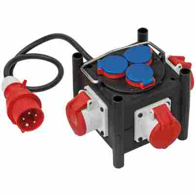 Gummi-Stromverteiler 3x CEE 400V/16A, 3x 230V/16A