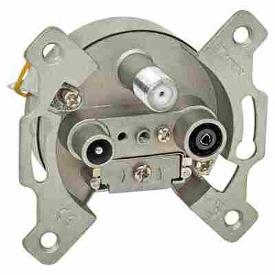 Antennensteckdose TV/RF/SAT Sockel 3-fach silbern