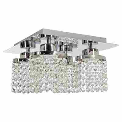 LED-Deckenleuchte 'Cristallo' silbern 4-flammig