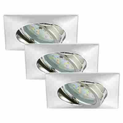LED-Einbauleuchten 1-flammig (3Stück) Chrom Eckig
