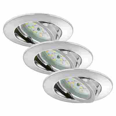 LED-Einbauleuchten 1-flammig (3 Stück) Chromfarben Rund