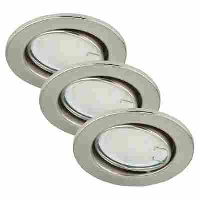 LED-Einbauleuchten 1-flammig (3 Stück) Nickelfarben -Rund