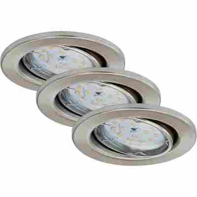 LED-Einbauleuchte 'Fit Dim' Nickel matt 400 lm, 3er-Set