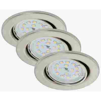 LED-Einbauleuchte 'Fit Move' Nickel matt 400 lm, 3er-Set