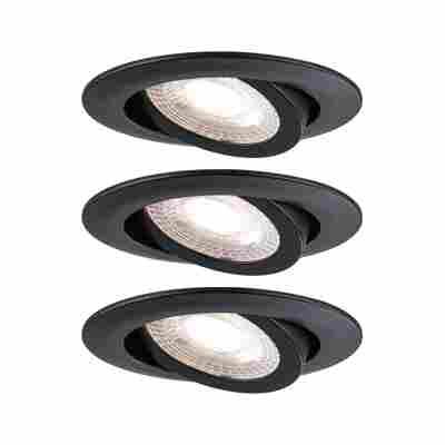 LED Einbauleuchte 3er Set 3 x 6W 230V schwarz matt, schwenkbar