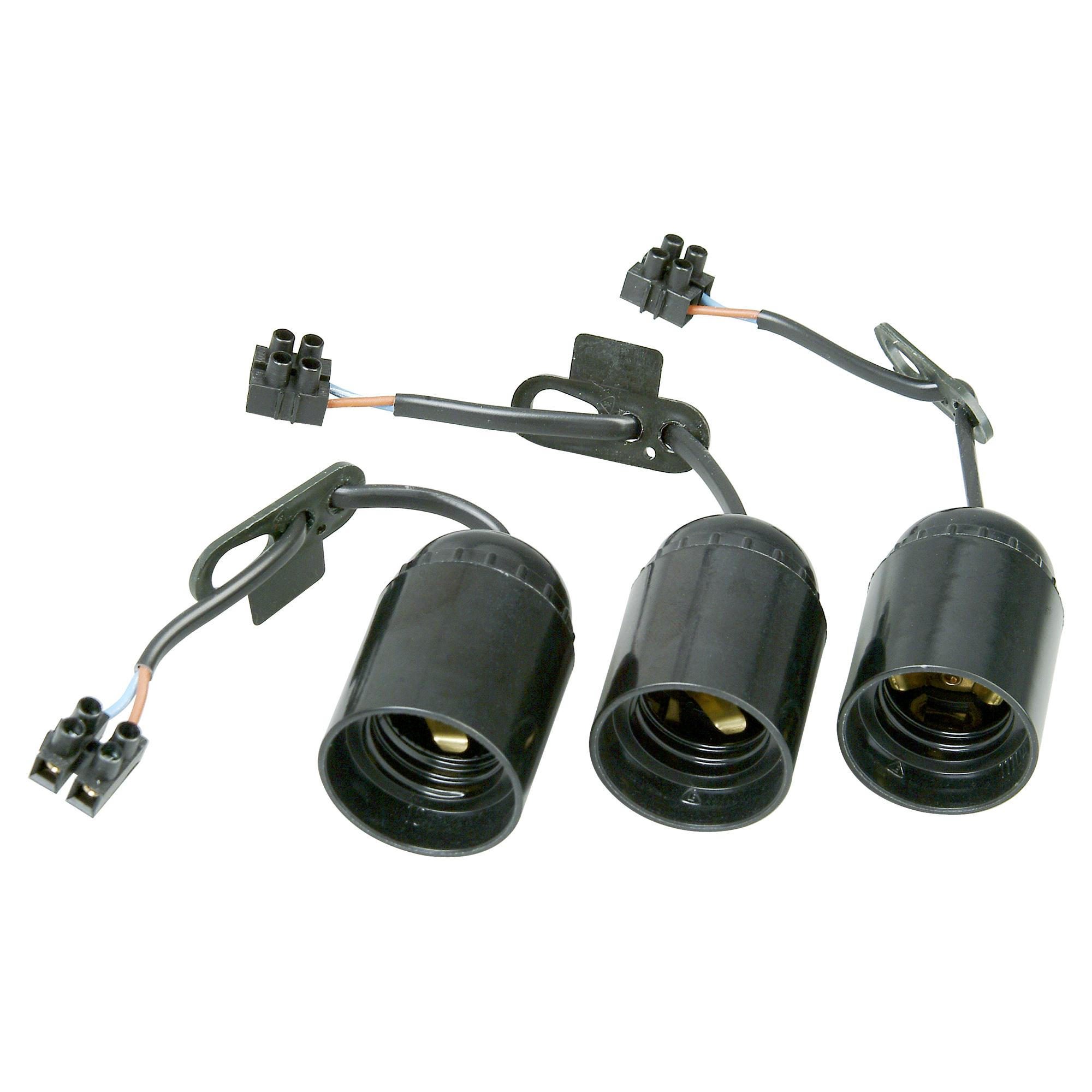 Schwarz E14 mit 2-poliger Lüsterklemme Baufassung im 3er-Set Lampenfassung