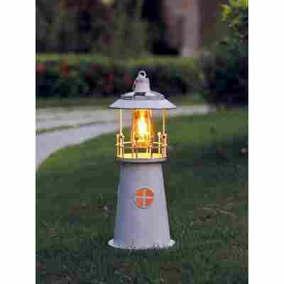 LED-Solarleuchte 'Leuchtturm' 46 cm weiß