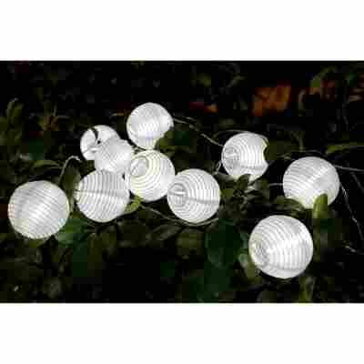 Solar-Lichterkette 'Lampion' 378 cm weiß