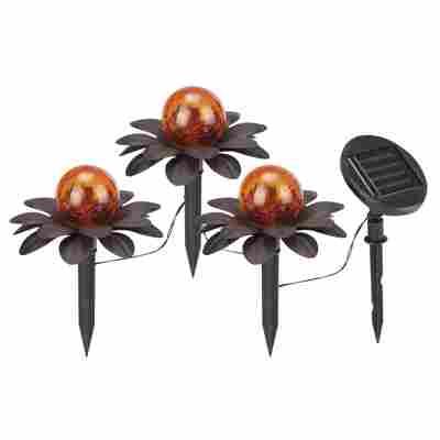 LED-Solar-Bodenlichterkette 'Lotusblüte' 3 LEDs warmweiß 3 m