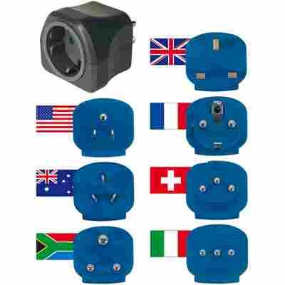 Reiseadapter-Set mit 7 verschiedenen Einsätzen