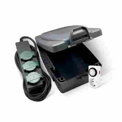 Kabelbox-Set mit Steckerleiste und Zeitschaltuhr, 3-teilig