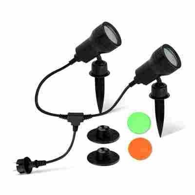 LED-Außenleuchte 'Terra' schwarz, 2-flammig, inkl. 4 Farbfiltern