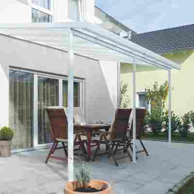 Terrassenüberdachung, weiß (RAL 9010), 426 x 406 cm (BxT)