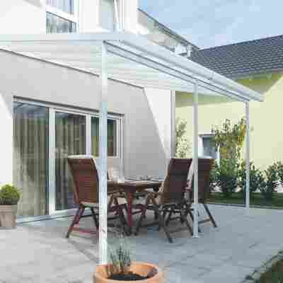 Terrassenüberdachung, weiß (RAL 9010), 546 x 406 cm (BxT)