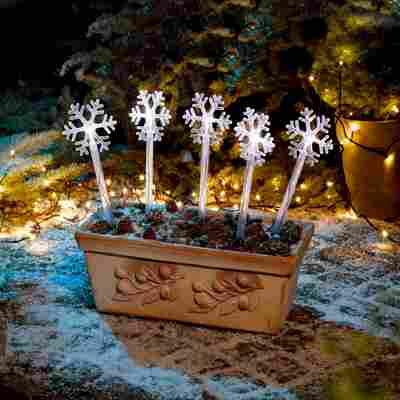 LED-Lichterspieß Schneeflocken warmweiß