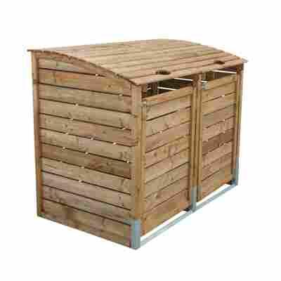 Doppelmülltonnenbox KDI braun 156 x 122 x 94 cm