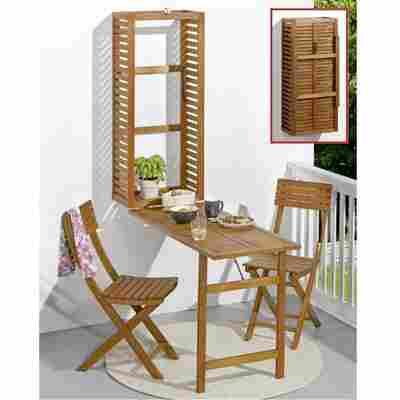 Balkonmöbel-Set 'Wall' Eukalyptusholz, 3-teilig