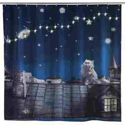 LED Duschvorhang Moon Cat