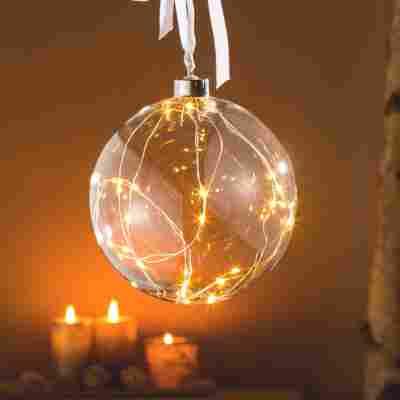 Glaskugel 10 LED warm-weiss, 10 cm