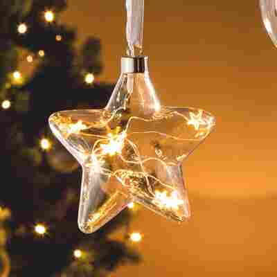 Glas Stern, 8 LED Glas, warm-weiss