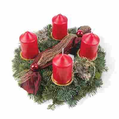 Adventskranz rot Ø 30 cm, mit vier Kerzen
